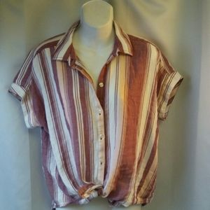 Calvin Klein Retro-styled Top Muted Stripes, S